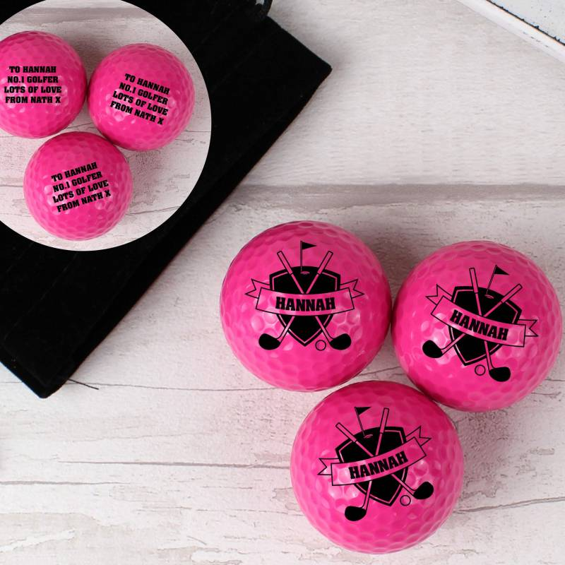Personalised Shield Pack of Three Pink Golf Balls