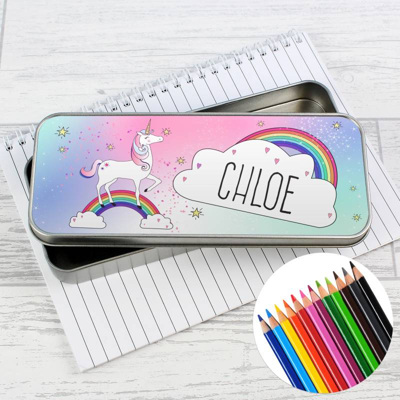 Personalised Unicorn Pencil Tin with Pencil Crayons