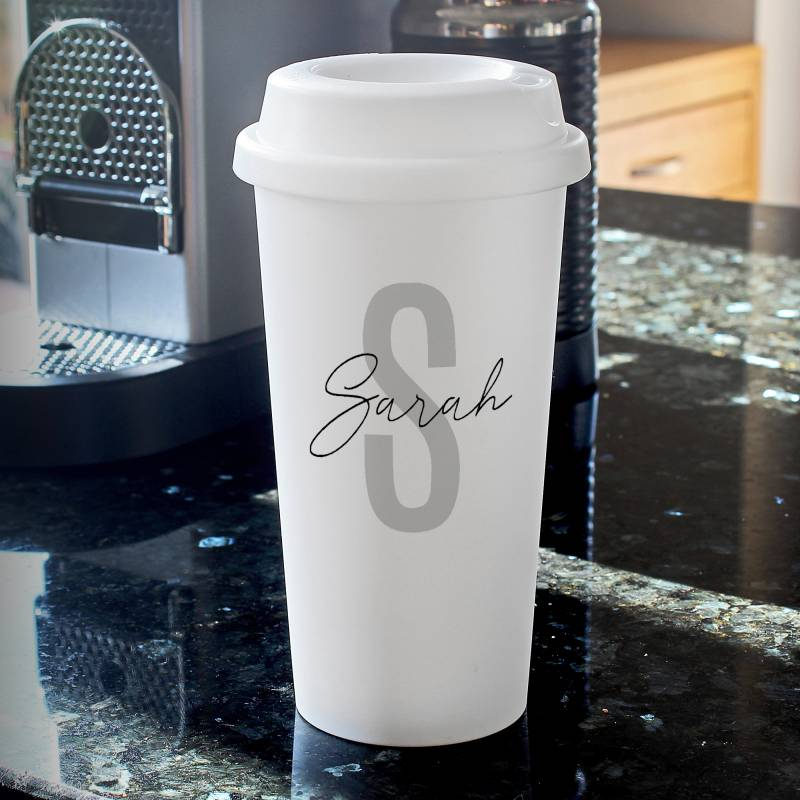 Personalised Initial & Name Double Walled Travel Mug
