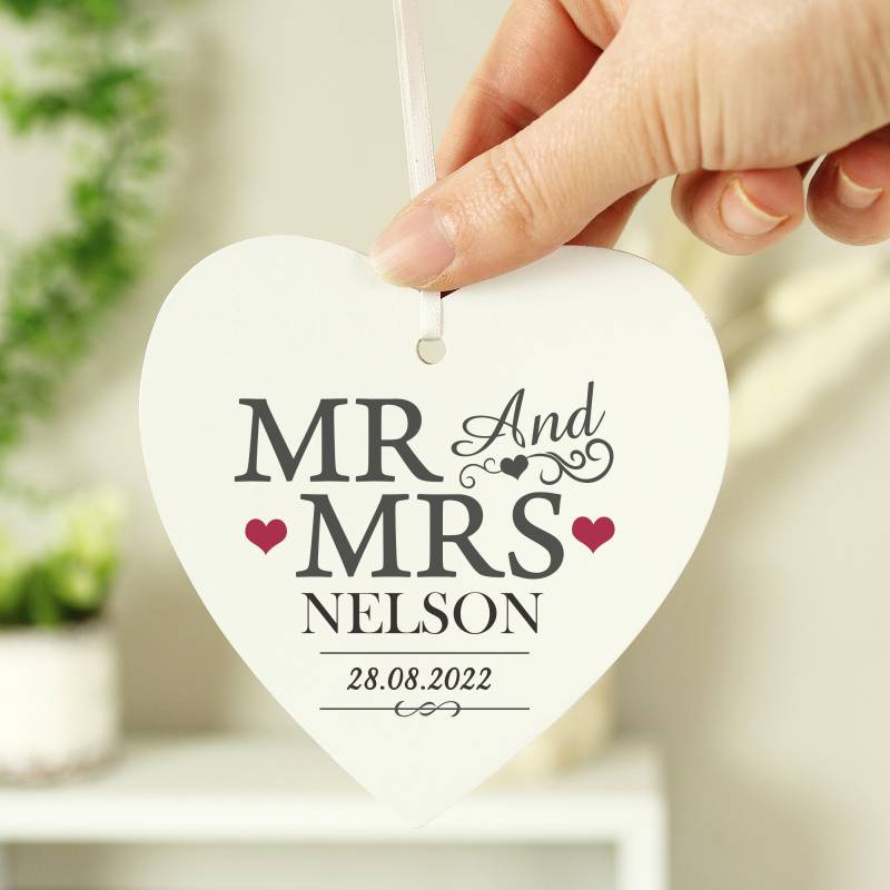 Personalised Mr & Mrs Wooden Heart Decoration