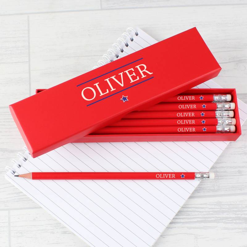 Personalised Blue Star Box of 12 Red HB Pencils