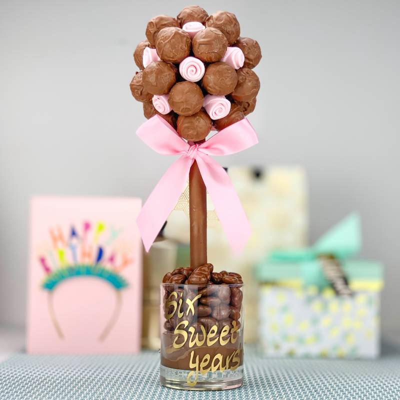 Salted Caramel Truffles and Pink Roses Chocolate Tree