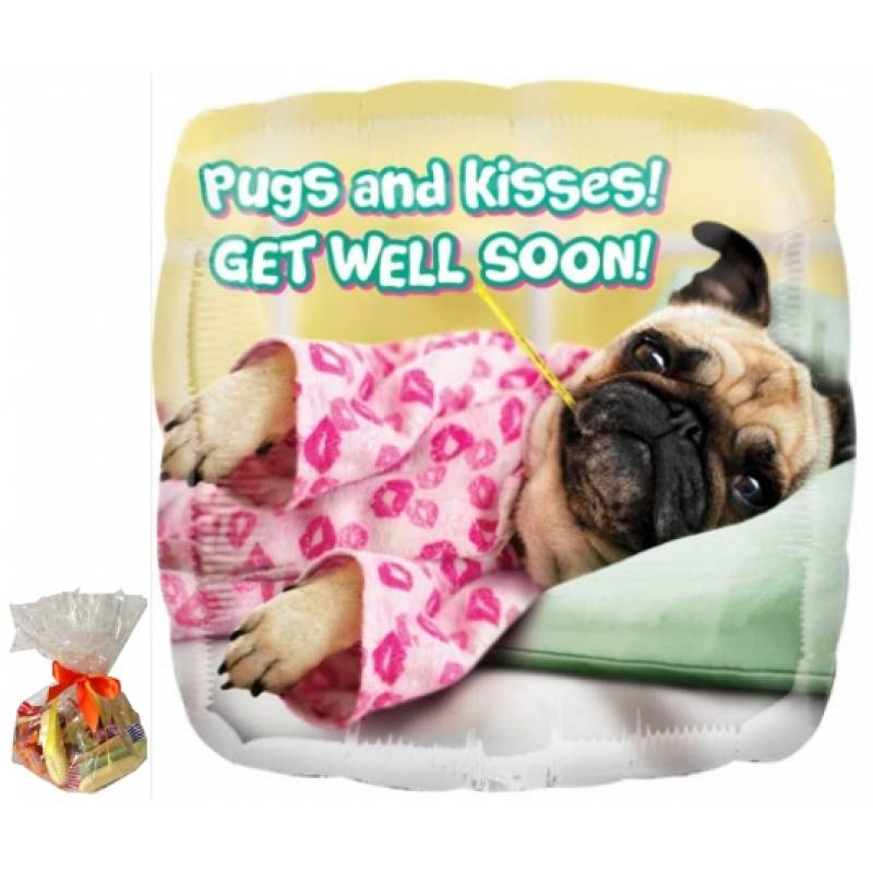 Pugs and Kisses Get Well Soon Sweet Balloon