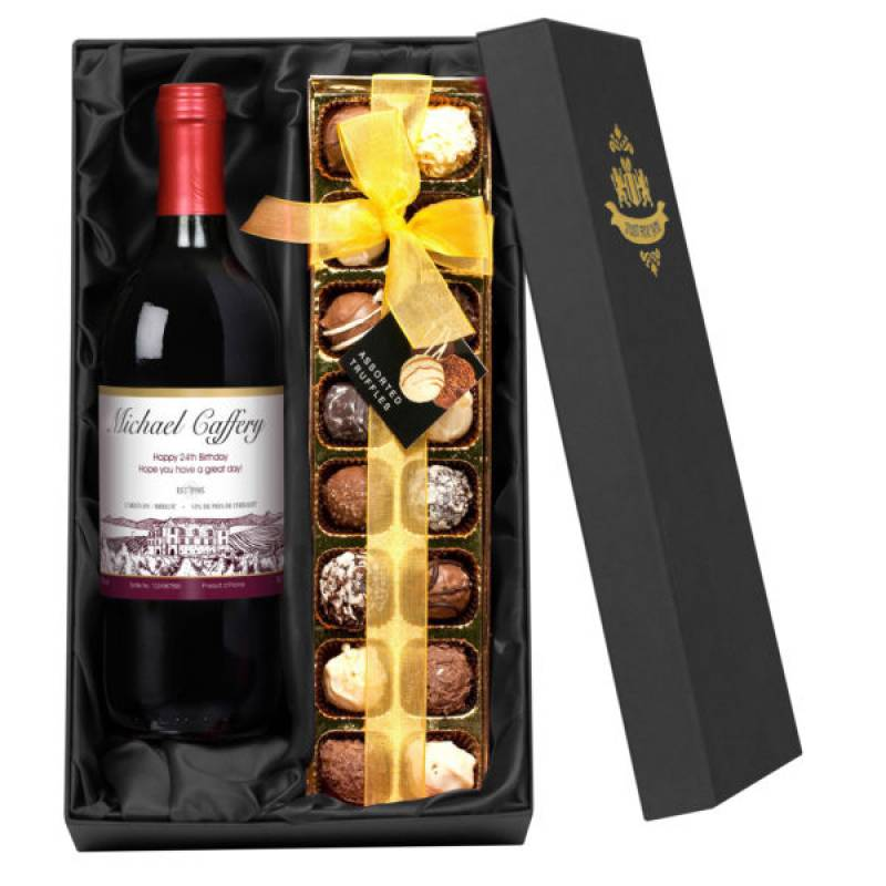 Personalised Red Wine and Chocolates Gift Set