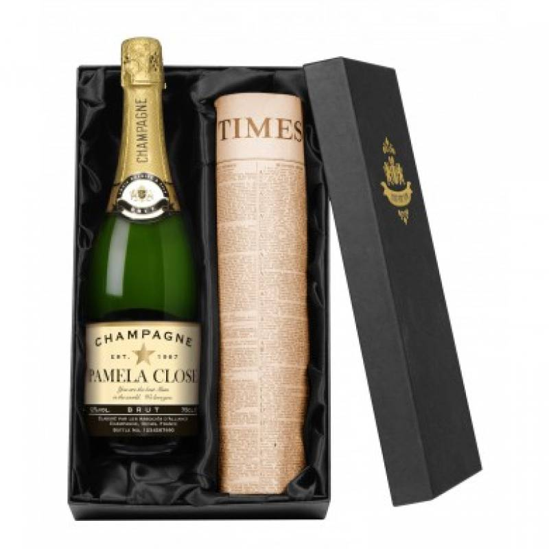 Personalised Bottle of Champagne and Newspaper From Any Date