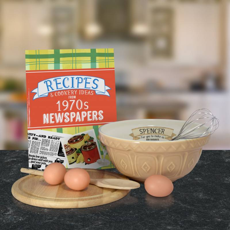Personalised Mixing Bowl and 1970 Recipe Book