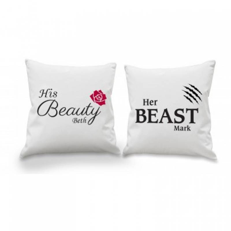 ac4a49cb54 Personalised Her Beast His Beauty Cushion Cover Set | Funky Hampers
