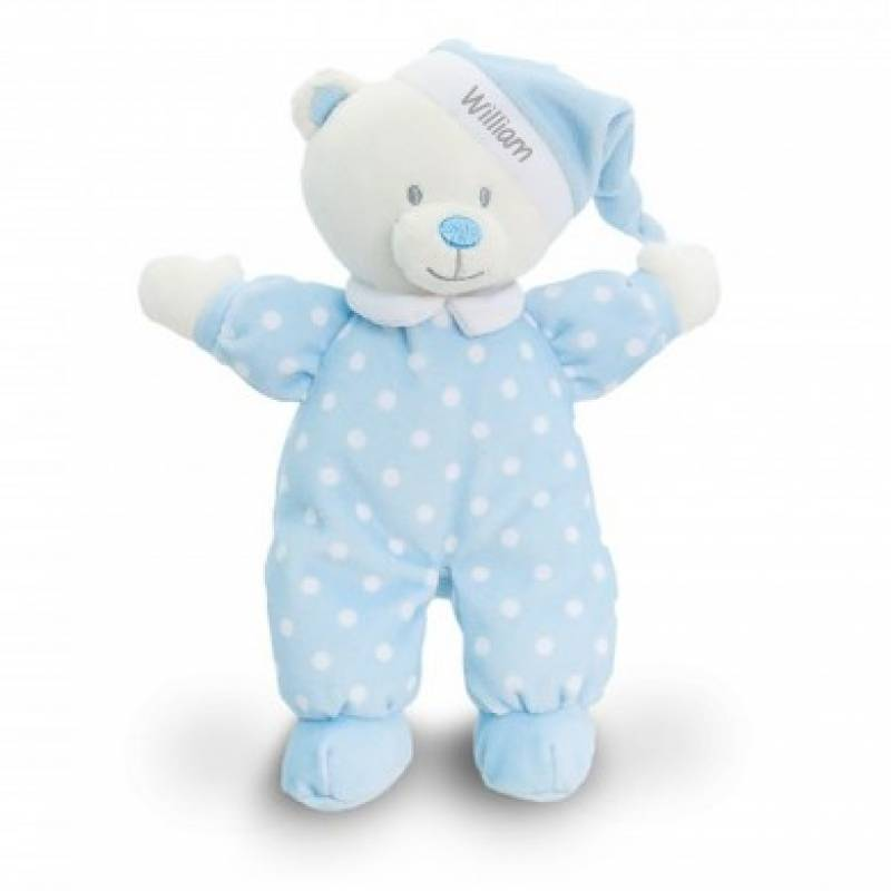 Personalised Babys Blue Goodnight Teddy Bear