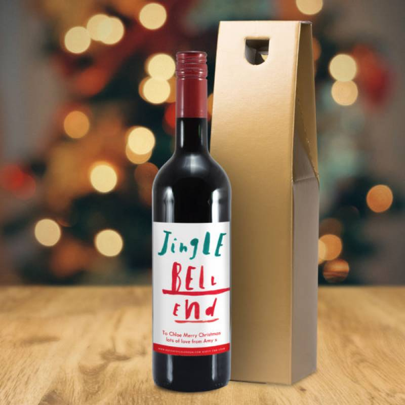 Personalised Jingle Bell End Red Wine