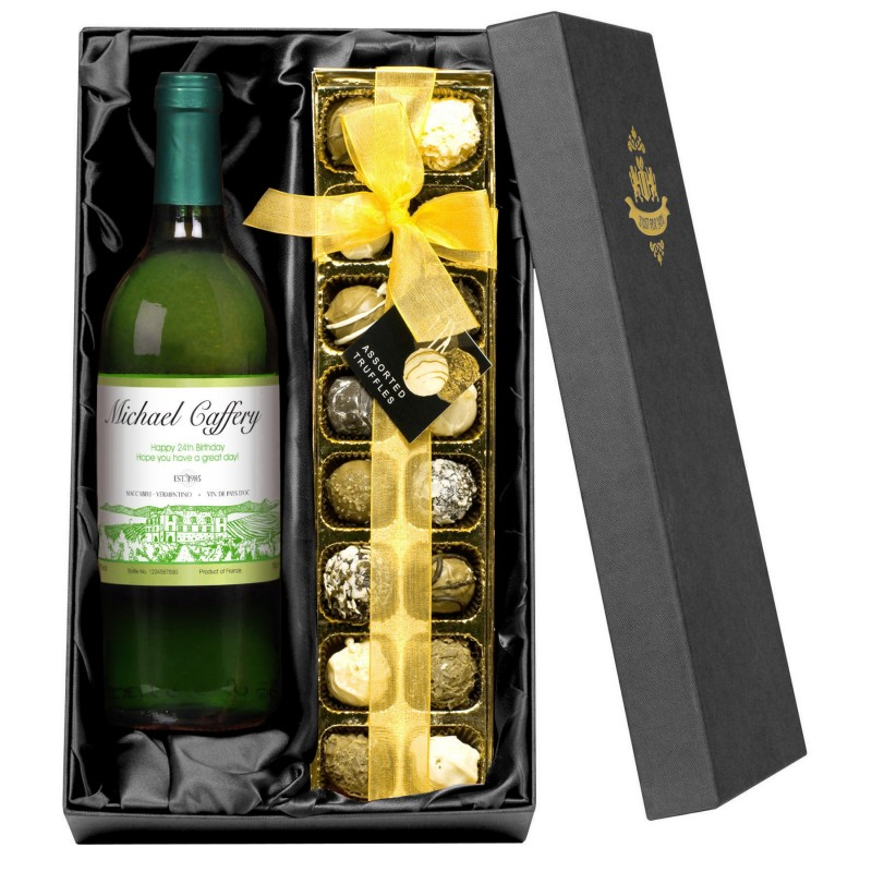 Personalised White Wine and Chocolates