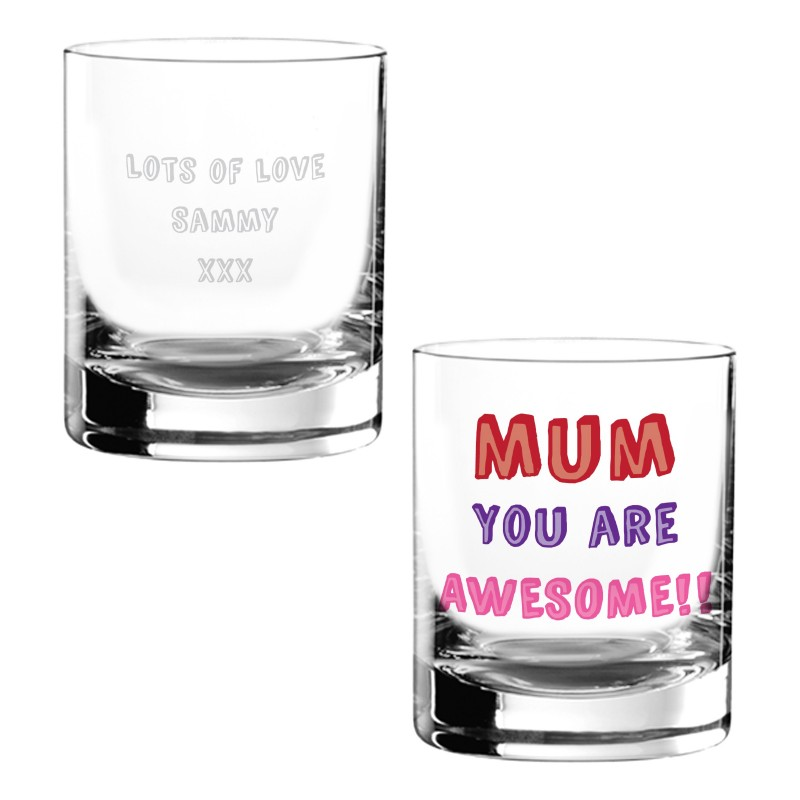 Personalised Awesome Mum Glass Tumbler