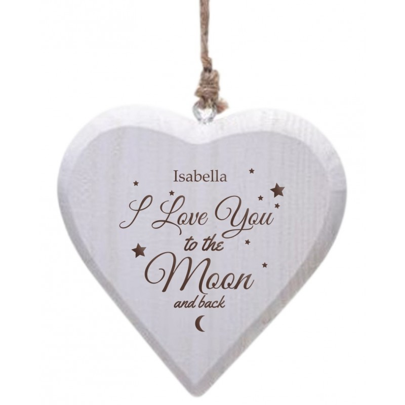 Personalised To the Moon & Back Wooden Heart