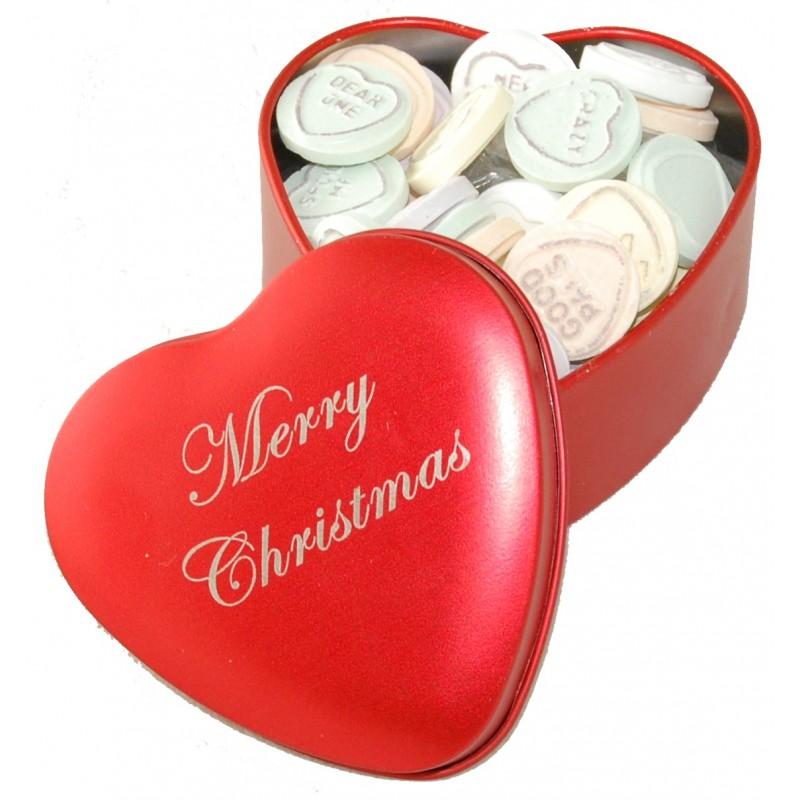 Merry Christmas Love Hearts Tin