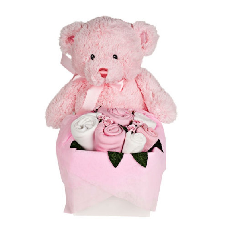 Pink Teddy Bouquet Box