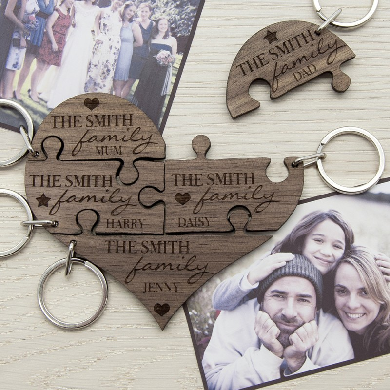 Personalised Our Family Heart Wooden Jigsaw Keyring