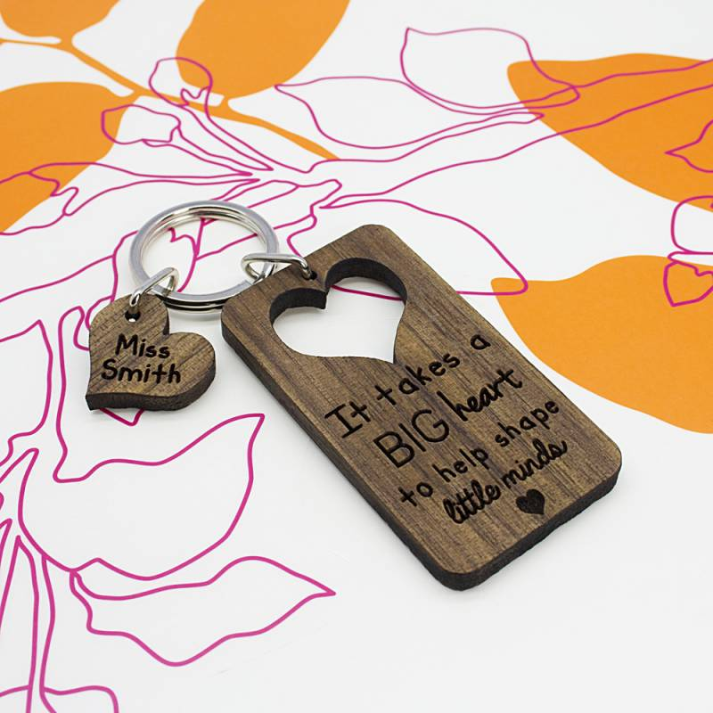 Personalised It Takes A Big Heart Teachers Keyring