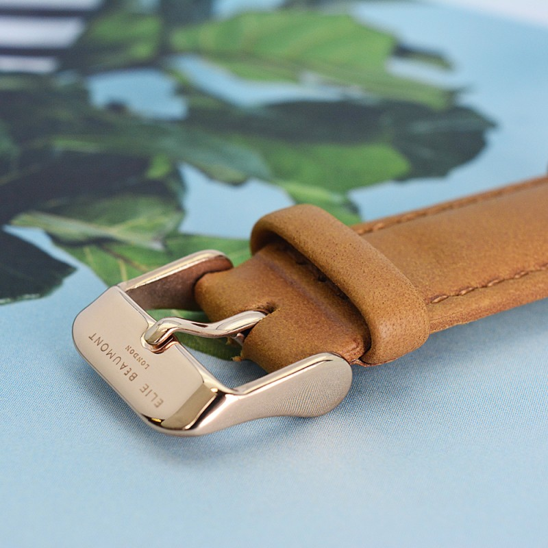 Vintage Personalised Leather Watch in Camel