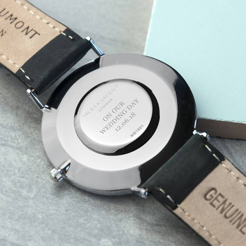 Personalised Leather Strap Designer Watch in Black