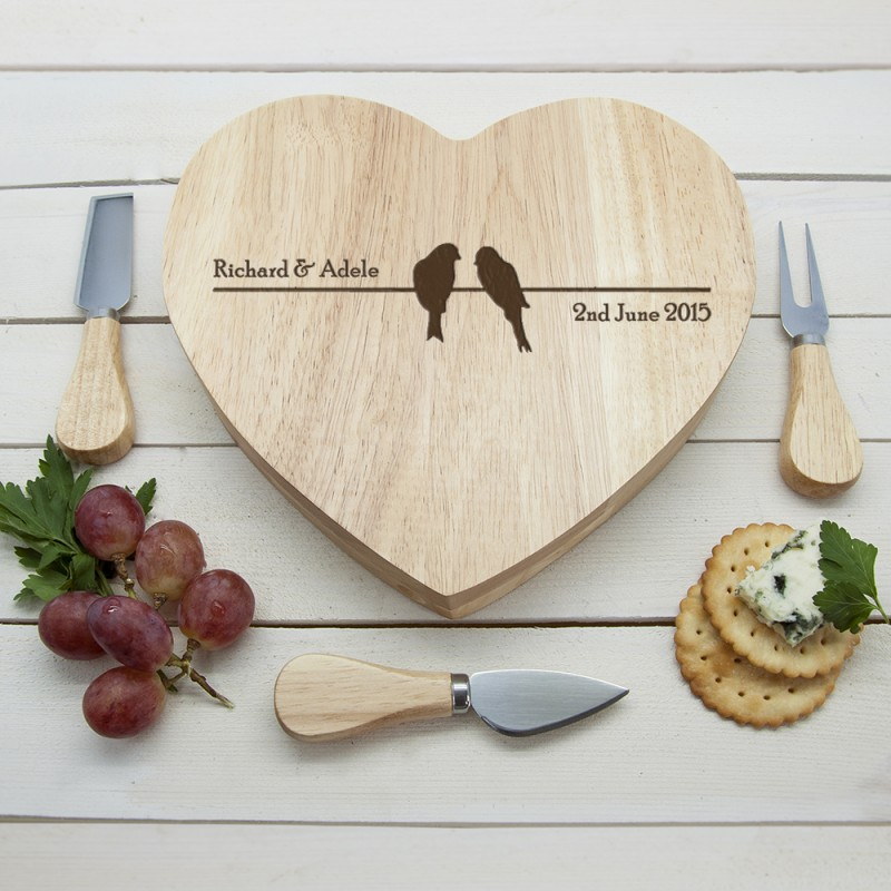 Personalised Love Birds Heart Cheese Board