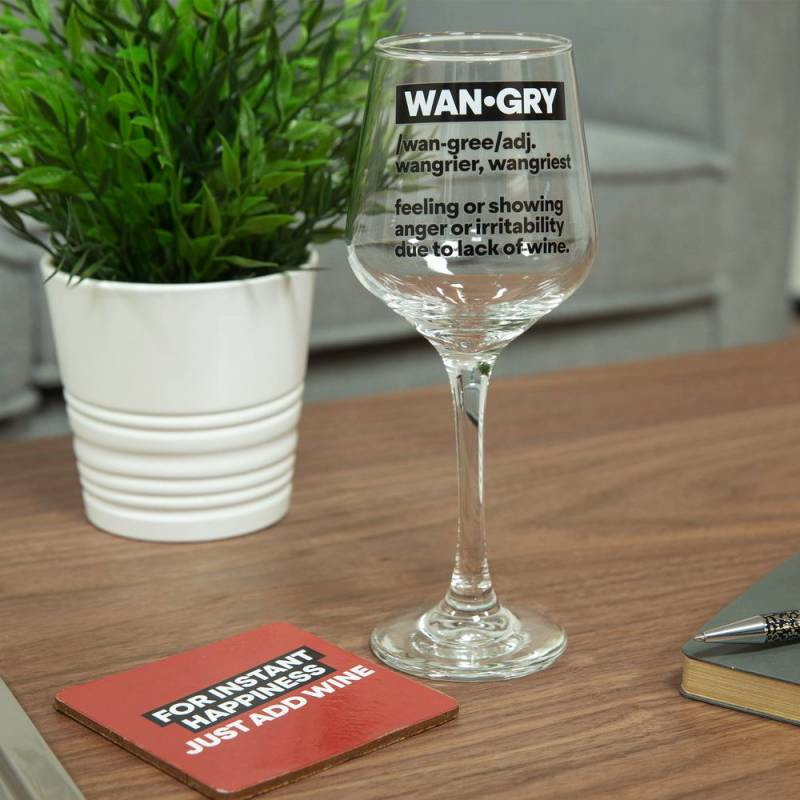 Wangry Wine Glass and Coaster Set