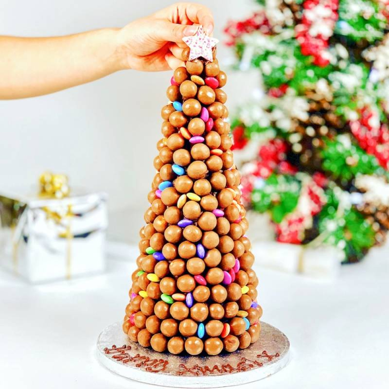 Personalised Malteser And Smartie Christmas Tower