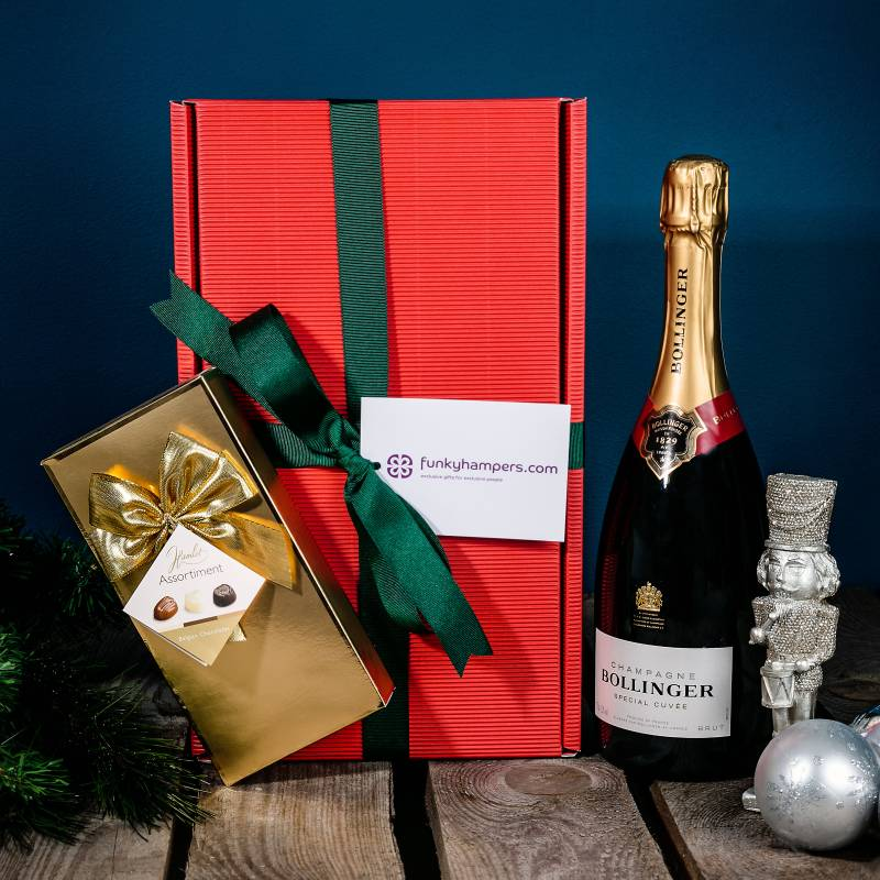 Christmas Bollinger Champagne and Belgian Chocolates Hamper