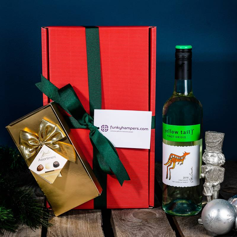 Christmas White Wine and Belgian Chocolates Hamper