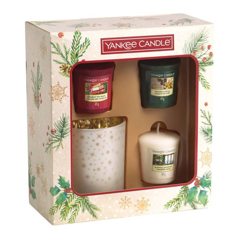 Yankee Candle 3 Christmas Votives and Holder Gift Set